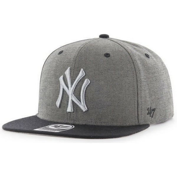 47-brand-flat-brim-new-york-yankees-mlb-captain-mottled-grey-snapback-cap