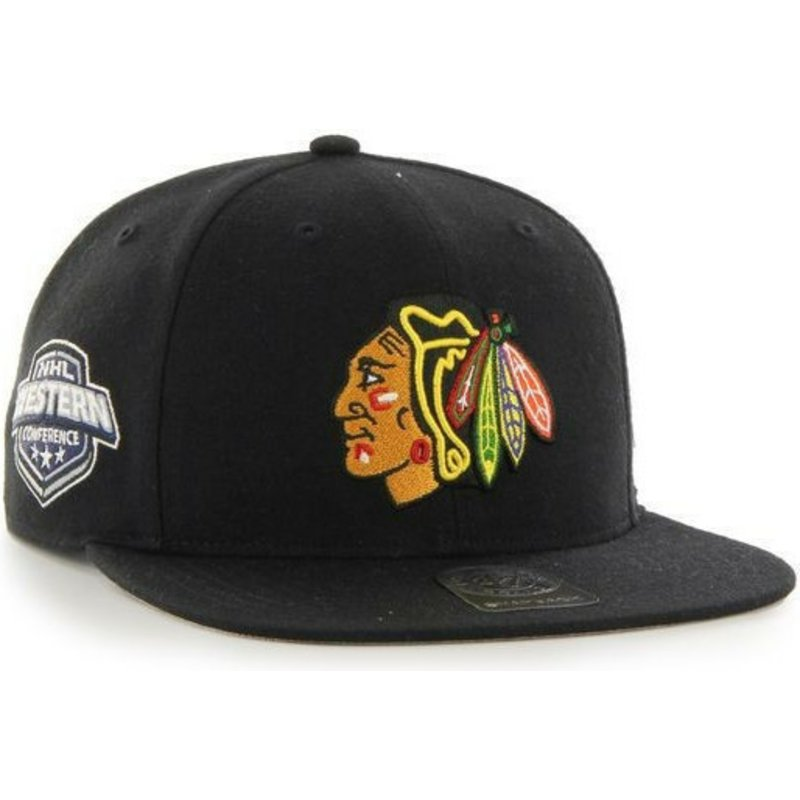 47-brand-flat-brim-chicago-blackhawks-nhl-captain-black-snapback-cap