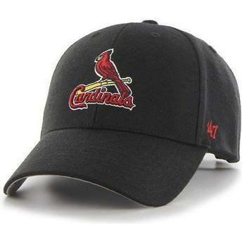 47 Brand Curved Brim Classic Logo Saint Louis Cardinals MLB MVP Black Cap
