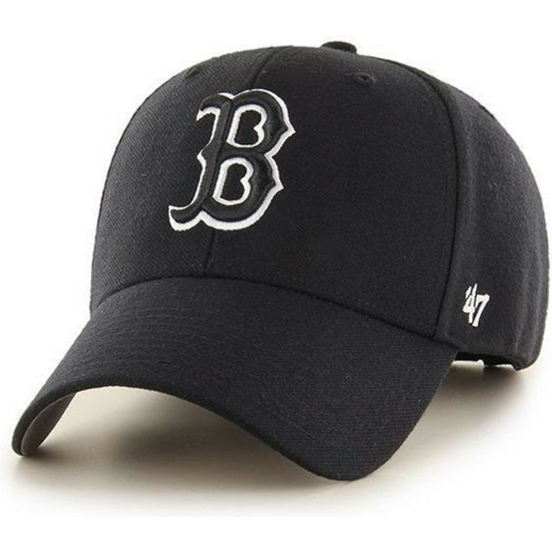 47-brand-curved-brim-black-and-white-logo-boston-red-sox-mlb-mvp-black-snapback-cap