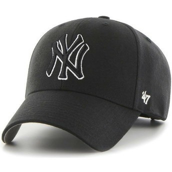 47 Brand Curved Brim Black Logo New York Yankees MLB MVP Black Snapback Cap