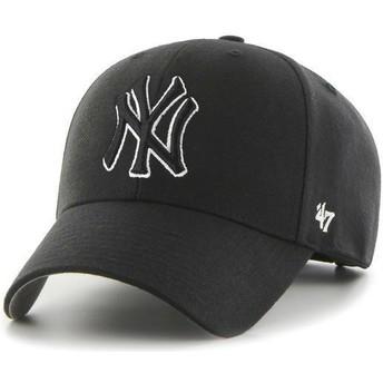 Gorra curva negra snapback con logo blanco y negro de New York Yankees MLB MVP de 47 Brand