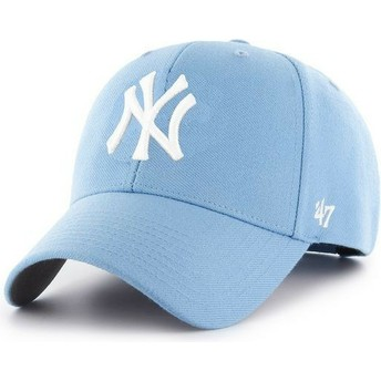 47 Brand Curved Brim New York Yankees MLB MVP Light Blue Snapback Cap