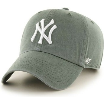 47 Brand Curved Brim New York Yankees MLB Clean Up Dark Green Cap
