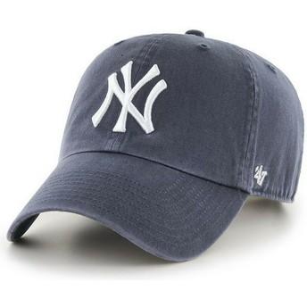 47 Brand Curved Brim New York Yankees MLB Clean Up Grey Denim Cap