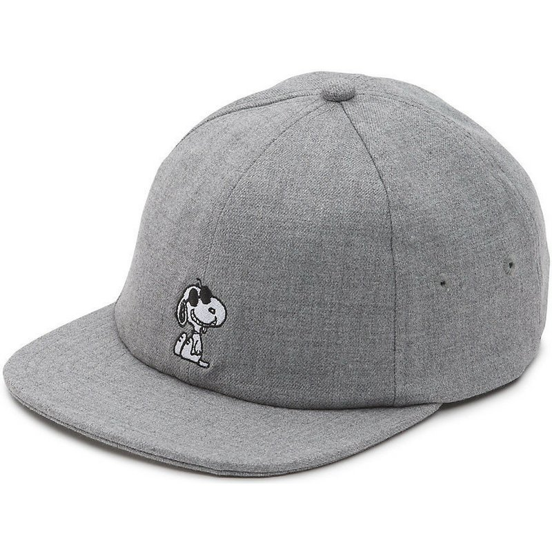 Vans x Peanuts Flat Brim Snoopy Adjustable Grey Cap   Shop Online at ... bb929359f4c