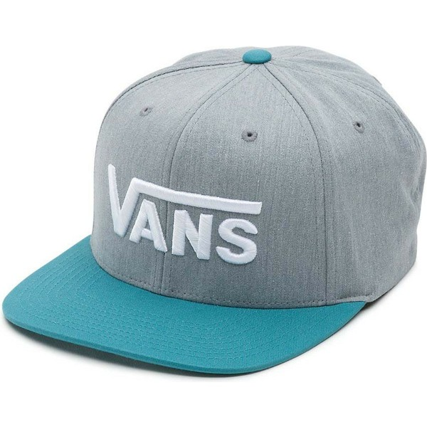 vans-flat-brim-script-logo-drop-v-grey-snapback-cap-with-blue-visor