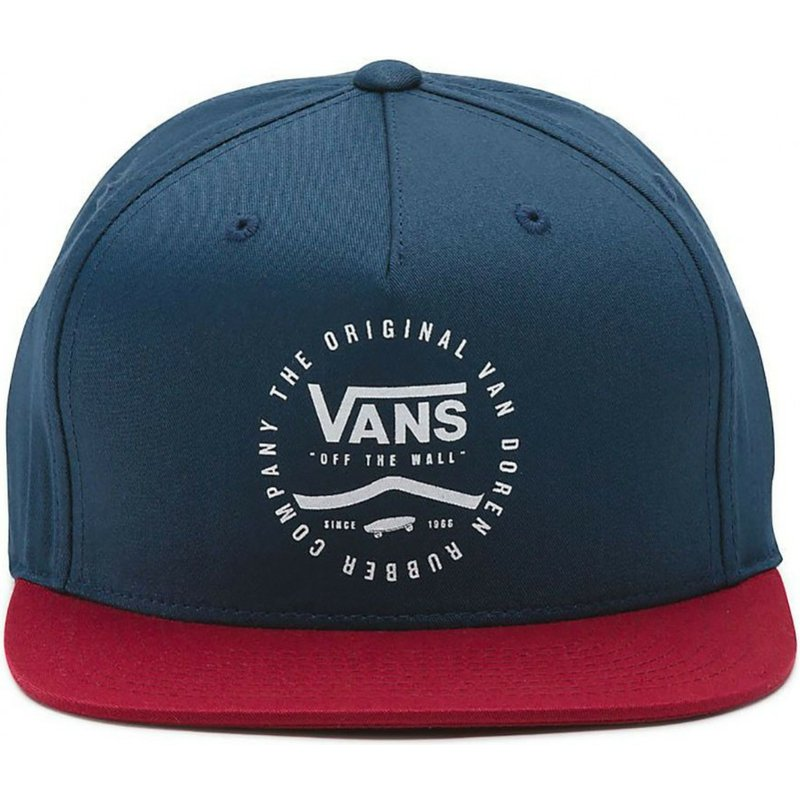 681b9e5ba7a9b Vans Flat Brim Side Stripe Navy Blue Snapback Cap with Red Visor ...