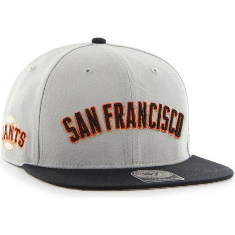 ec066625ea0 47 Brand Flat Brim San Francisco Giants Text MLB Grey Cap  Shop ...