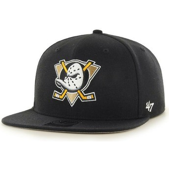 47 Brand Flat Brim Anaheim Ducks NHL No Shot Captain Black Snapback Cap