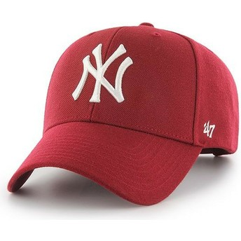47 Brand Curved Brim New York Yankees MLB MVP Dark Red Snapback Cap