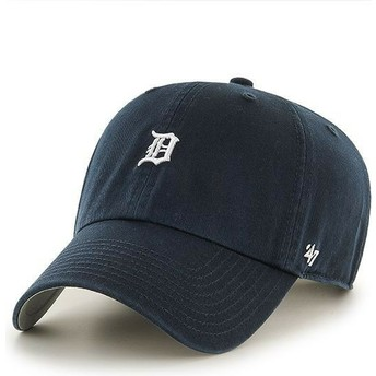 47 Brand Curved Brim Detroit Tigers Mini Logo MLB Clean Up Navy Blue Cap