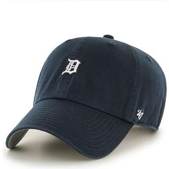 47 Brand Curved Brim Detroit Tigers Mini Logo MLB Clean Up Navy Blue Cap