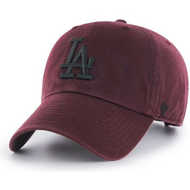 47-brand-curved-brim-los-angeles-dodgers-black-logo-mlb-clean-up-maroon-cap