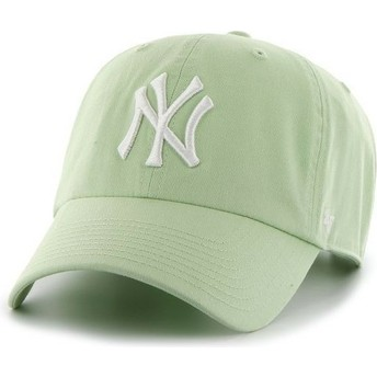 47 Brand Curved Brim White Logo New York Yankees MLB Clean Up Light Green Cap