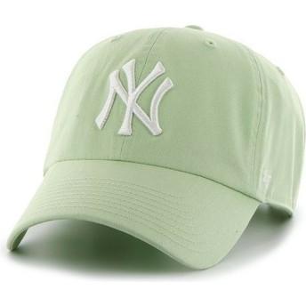 47 Brand Curved Brim White Logo New York Yankees MLB Clean Up Light Green Cap