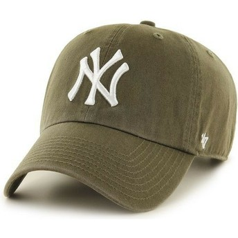 47 Brand Curved Brim New York Yankees MLB Clean Up Brown Cap