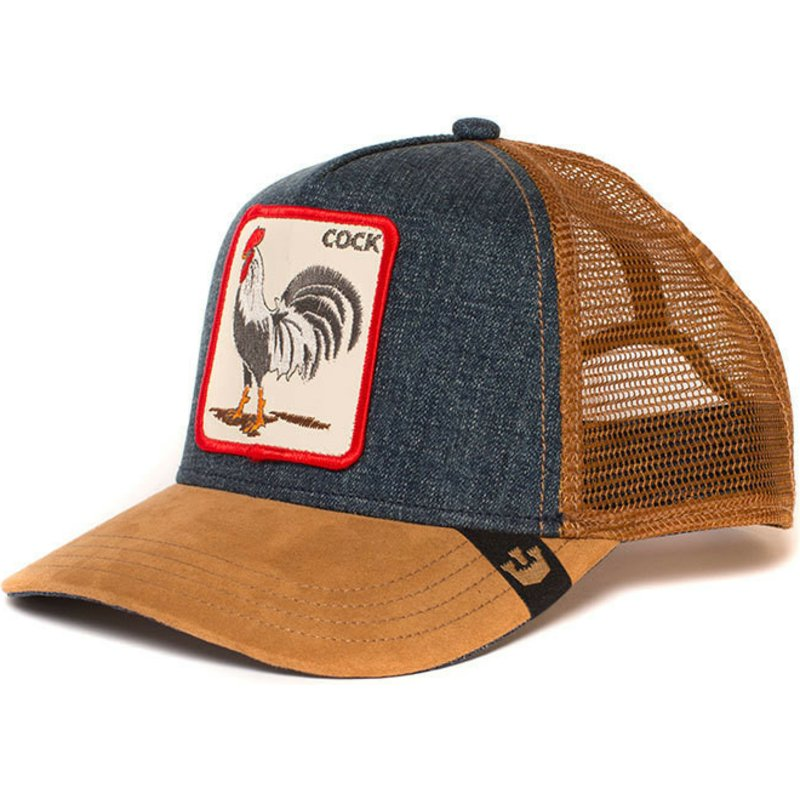 Goorin Bros. Rooster Big Strut Brown and Denim Trucker Hat  Shop ... 6843f80b320