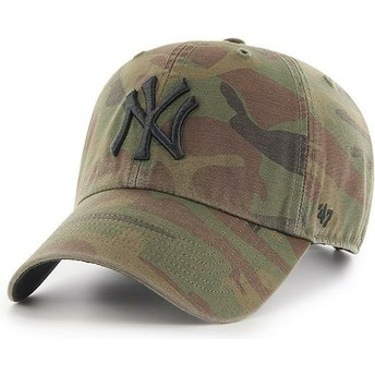 47 Brand Curved Brim Black Logo New York Yankees MLB Regiment Clean Up Camouflage Cap
