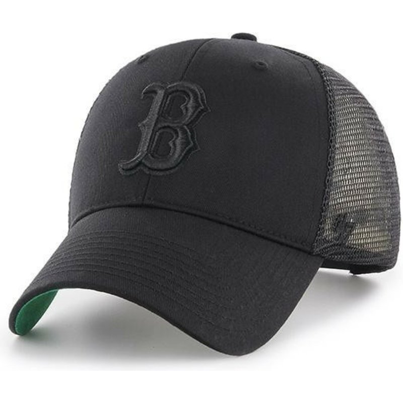 47 Brand Black Logo Boston Red Sox MLB MVP Branson Black Trucker Hat ... 7dcf86b30b4