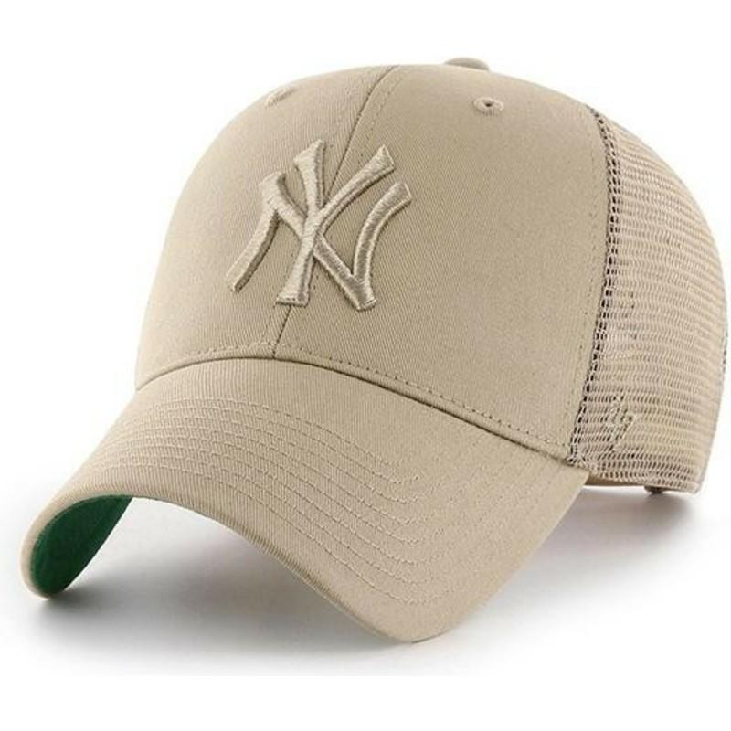 f65de23aaf092 47 Brand Beige Logo New York Yankees MLB MVP Branson Beige Trucker ...