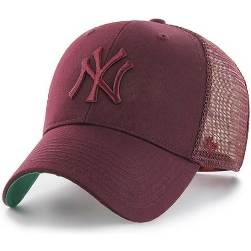 0ad0e4f967381 47 Brand Maroon Logo New York Yankees MLB MVP Branson Maroon Trucker ...