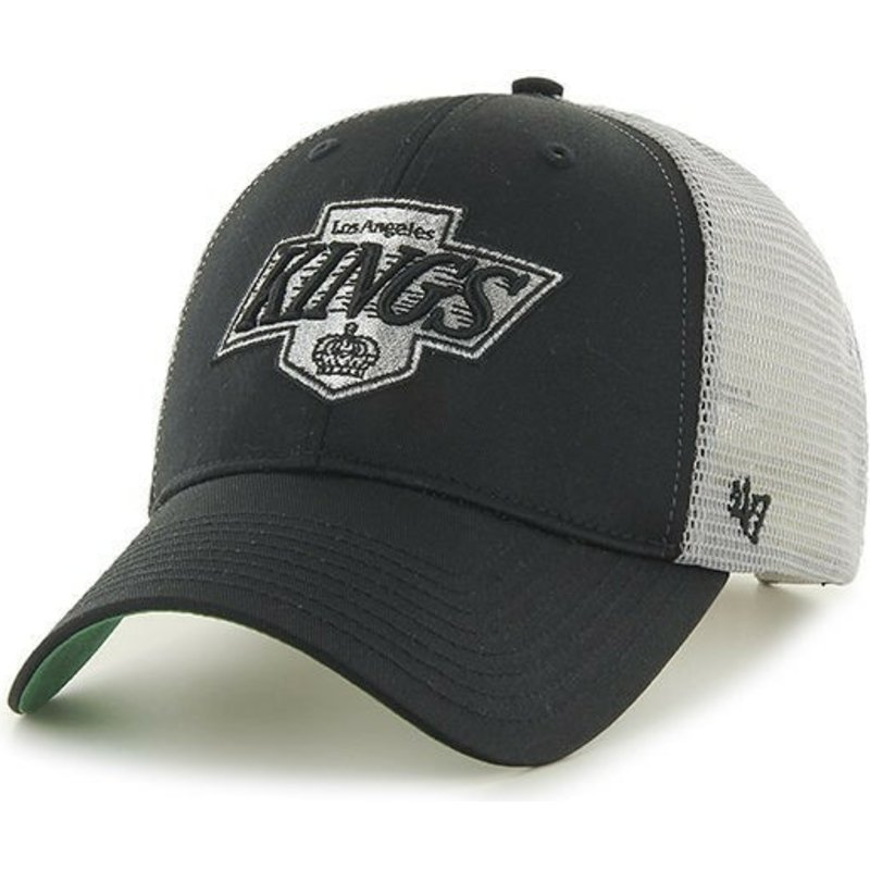 47 Brand Los Angeles Kings NHL MVP Branson Black and White Trucker ... 2a976aa40ed