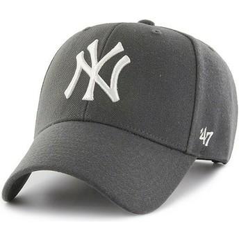 47 Brand Curved Brim New York Yankees MLB MVP Dark Grey Snapback Cap