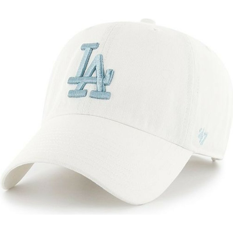 47-brand-curved-brim-blue-logo-los-angeles-dodgers-mlb-clean-up-white-cap