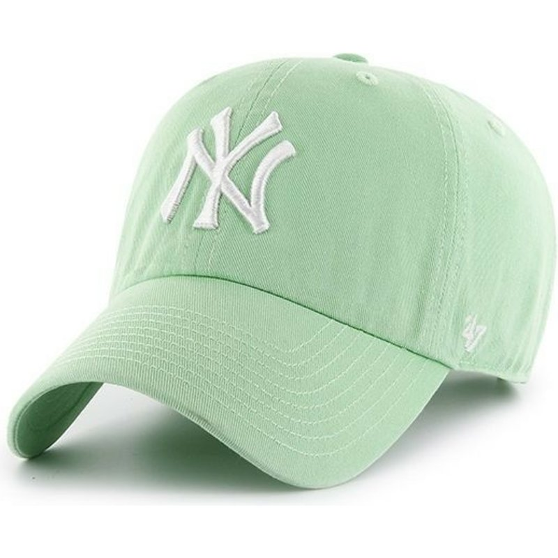 47-brand-curved-brim-new-york-yankees-mlb-clean-up-light-green-cap