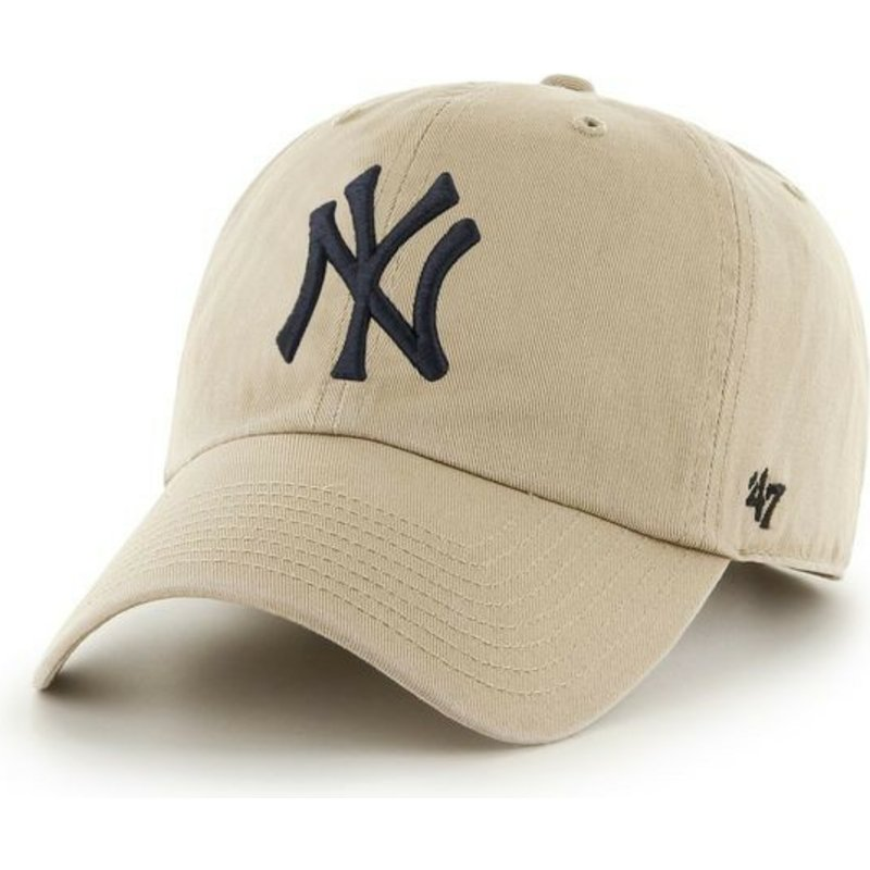 47-brand-curved-brim-black-logonew-york-yankees-mlb-clean-up-beige-cap