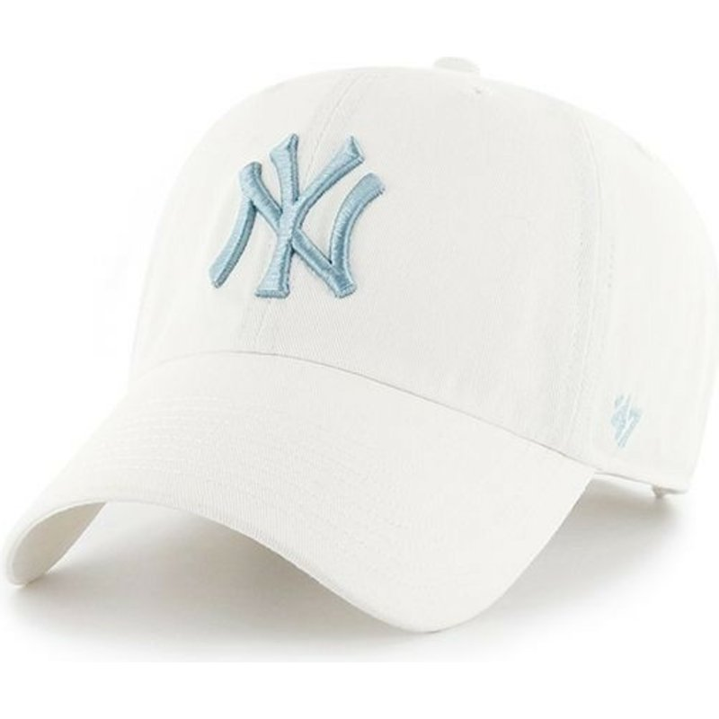 47-brand-curved-brim-blue-logo-new-york-yankees-mlb-clean-up-white-cap