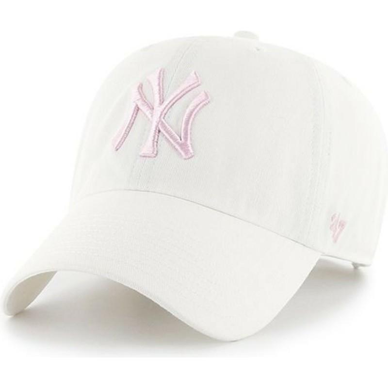 95df8dde539 47 Brand Curved Brim Pink Logo New York Yankees MLB Clean Up White ...