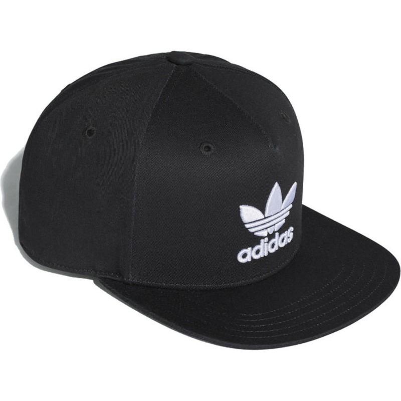 f89b26bb8cbc5 Adidas Flat Brim Trefoil Black Snapback Cap  Shop Online at Caphunters