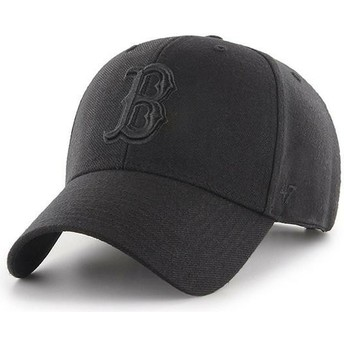 47 Brand Curved Brim Black Logo Boston Red Sox MLB MVP Black Snapback Cap