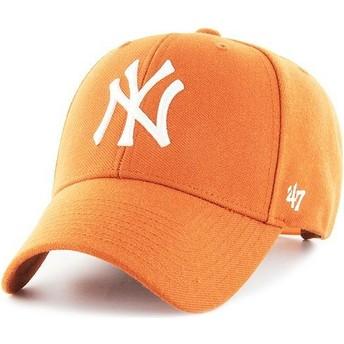 47 Brand Curved Brim New York Yankees MLB MVP Orange Snapback Cap