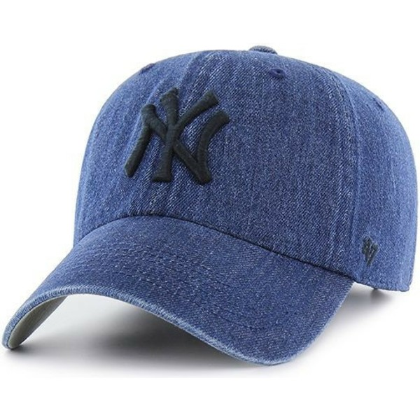 47-brand-curved-brim-new-york-yankees-mlb-clean-up-meadowood-navy-blue-denim-cap