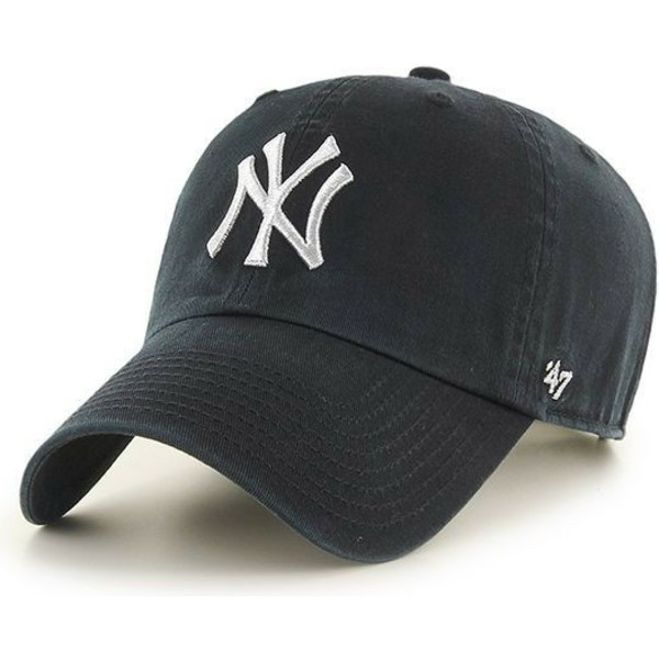 47-brand-curved-brim-silver-logo-new-york-yankees-mlb-clean-up-metallic-black-cap