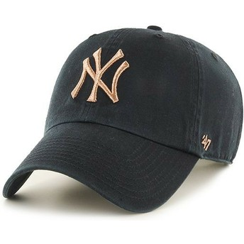 47 Brand Curved Brim Bronze Logo New York Yankees MLB Clean Up Metallic Black Cap