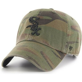 47 Brand Curved Brim Black Logo Chicago White Sox MLB Clean Up Regiment Camouflage Cap