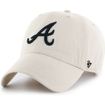 47 Brand Curved Brim Atlanta Braves MLB Clean Up Cream Cap