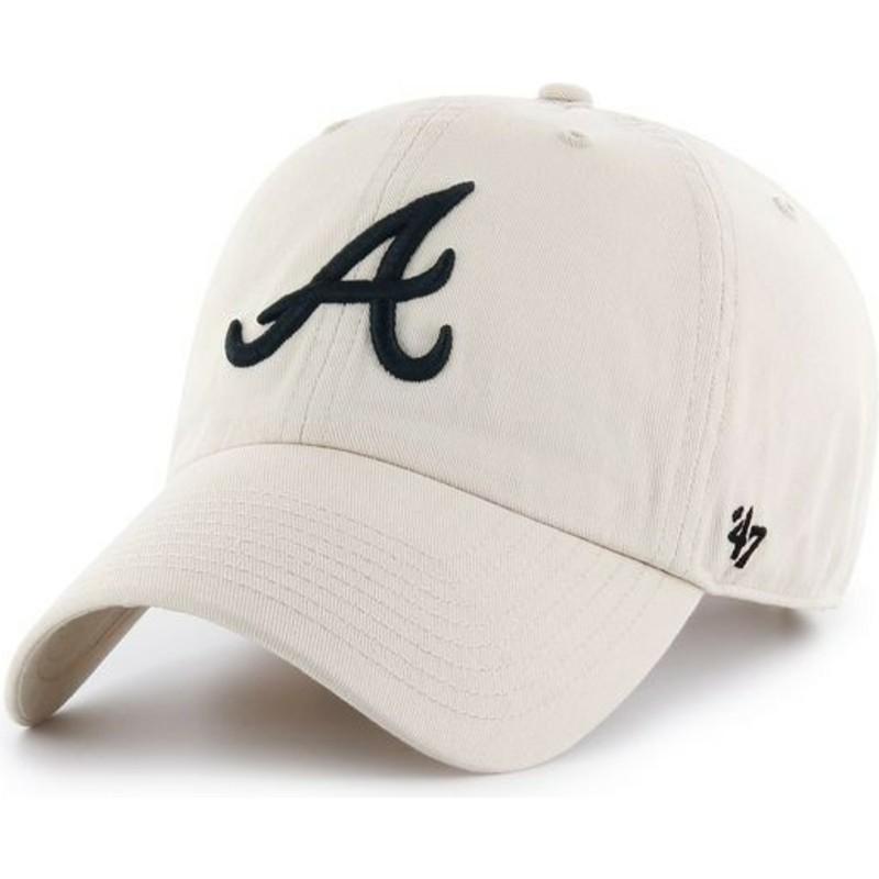 47 Brand Curved Brim Atlanta Braves MLB Clean Up Cream Cap  Shop ... e2f0c7b558e