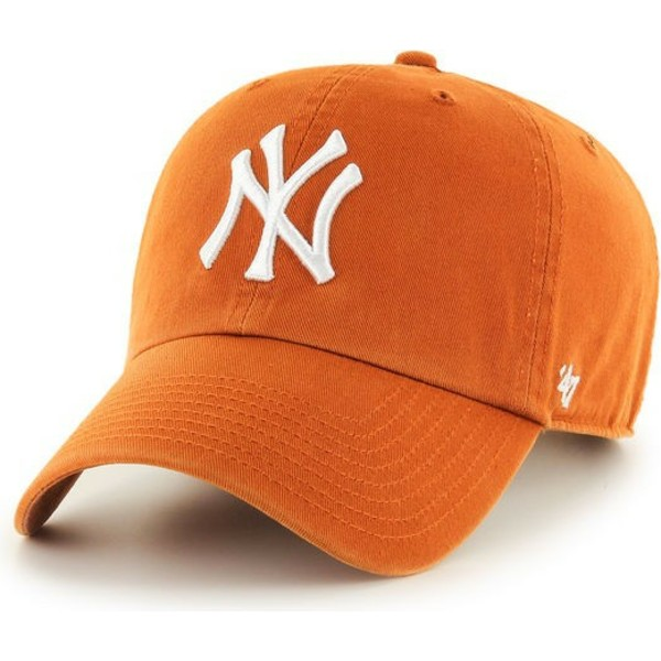 47-brand-curved-brim-new-york-yankees-mlb-clean-up-orange-cap