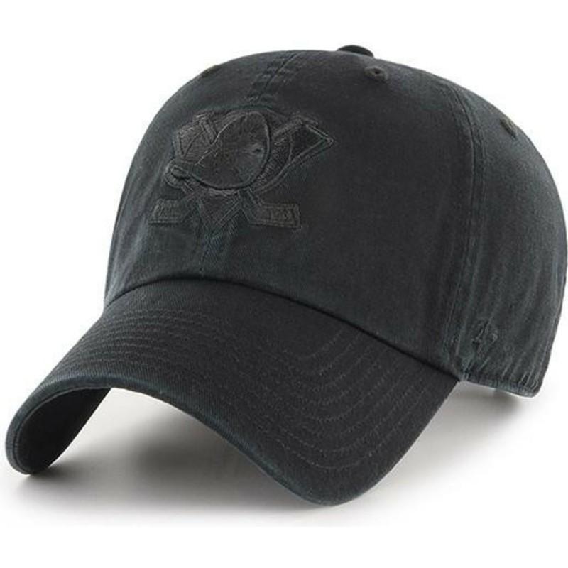 cf1ba8680b6b7 47 Brand Curved Brim Black Logo Anaheim Ducks NHL Clean Up Black Cap ...