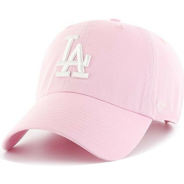 47-brand-curved-brim-white-logo-los-angeles-dodgers-mlb-clean-up-pink-cap