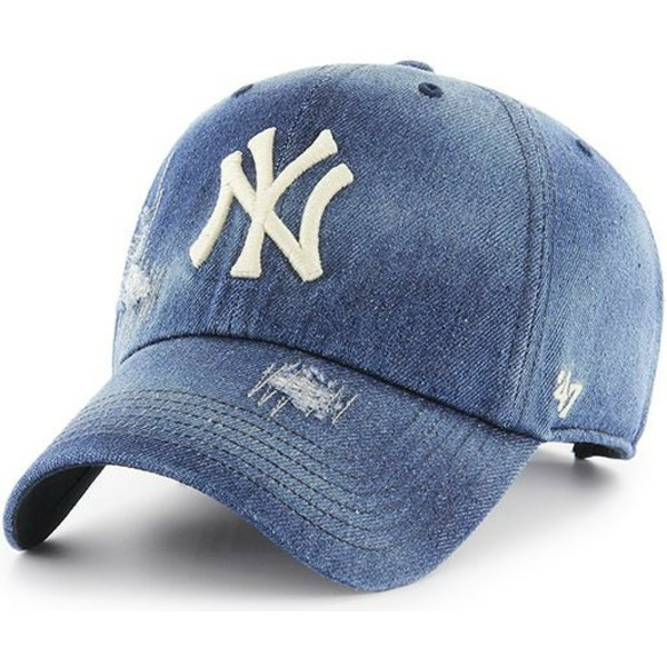 47-brand-curved-brim-new-york-yankees-mlb-clean-up-loughlin-navy-blue-denim-cap