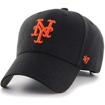 47 Brand Curved Brim Orange Logo New York Mets MLB MVP Black Cap
