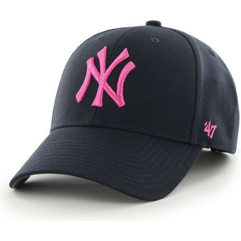 47-brand-curved-brim-pink-logo-new-york-yankees-mlb-mvp-navy-blue-cap