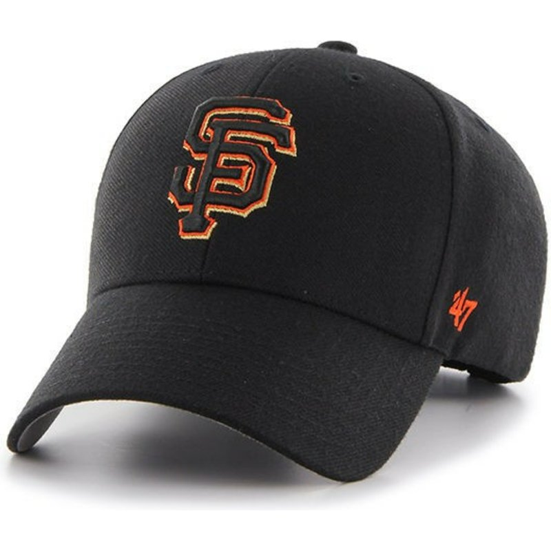 47 Brand Curved Brim Orange Logo San Francisco Giants MLB MVP Black ... ab16b28bd6f3