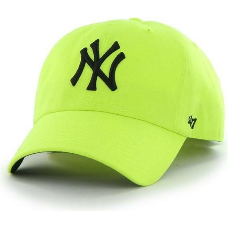 ebaa10076 47 Brand Curved Brim New York Yankees MLB Clean Up Neon Yellow Cap ...